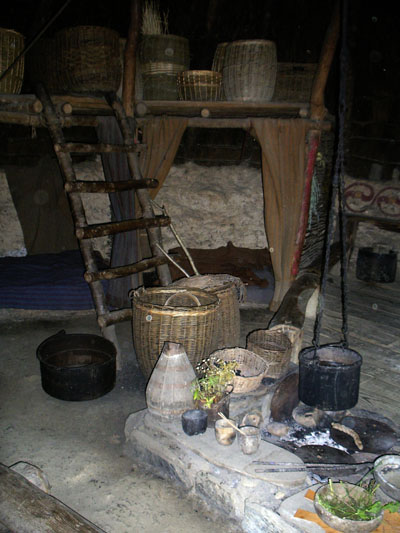 Inside a roundhouse - hearth and cauldron